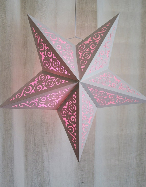 Paper Star Lantern w Scroll Cutouts - SVG CUTTING FILE Pdf special occasion, luminary, design, pattern, template, decoration, party