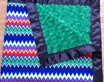Multi-Colour Chevron with Green Minky