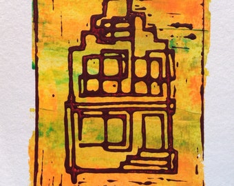 Lino cut Amsterdam Canalhouse 2, handmade, limited edition