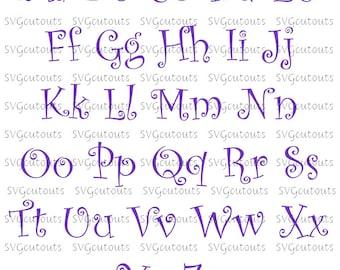 Curlz Monogram Font Alphabet Design, SVG, Eps, Dxf Formats, File For Your Cutting Machines, Silhouette, Cricut, Scan N Cut, INSTANT DOWNLOAD