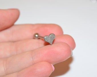 Sparkling Heart Tongue Ring, Tongue Piercings, Glitter Tongue Studs, Tongue Ring, Body piercings, body jewelry, tongue jewelry, Barbells