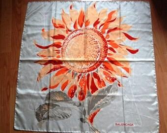 "vtg BALENCIAGA Sunflower floral print pattern silk scarf 30"""
