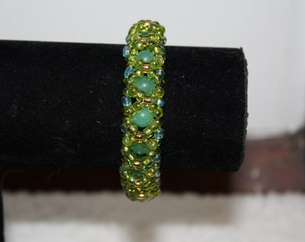 "Aventurine gemstone right angle weave bracelet 7.7 inches"""