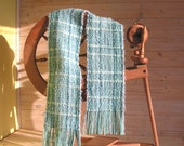 Handwoven scarf, Blue scarf, Light turquoise, Woven scarf, Handwoven shawl,  Soft scarf, Long scarf