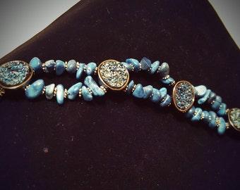 Sea Blue Beaded Slider Bracelet