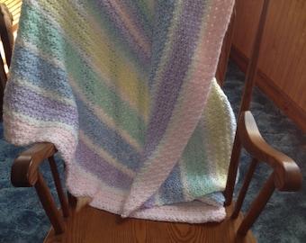 Pastel Rainbow Blanket, Crochet Blanket, Pastel Rainbow Afghan