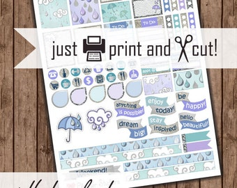 April Showers Planner Stickers, Printable April, Functional Planner Stickers: Rain Drops & Clouds