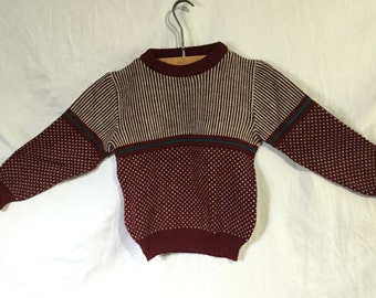 Vintage 80s Boys Size 7 Perimeters Small Abstract Knit Sweater
