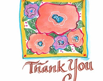 Original watercolor Thank you card. Can be personalized. Not a print.
