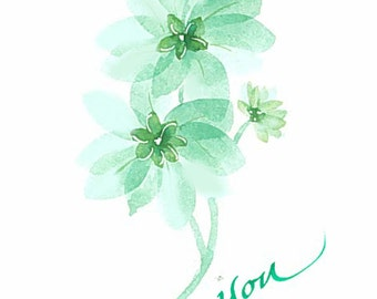 Thank you card. Original watercolor. Can be personalized with someone's name. Not a print.