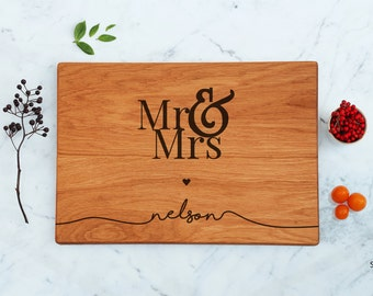 Mr and Mrs Cutting Board Personalized Bride & Groom Gift For The Couple Script Last Name Best Selling Items Newly Married Gift Ideas For Her