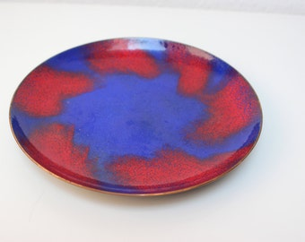 Old large enameled copper plate dish Bowl blue red copper 60s mid century