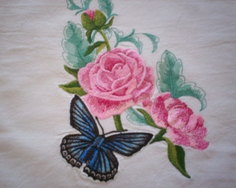 Meleager's Blue Butterfly with Peonies Embroidered Flour Sack Towel, Embroidered Butterfly Towel, Embroidered Peonies Towel