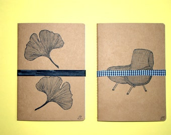 Lot of 2 notebooks , Kraft and India ink, hand-drawn, 2 motives: ginkgo,chair Lady . Gift original for man and woman! Journey diary...