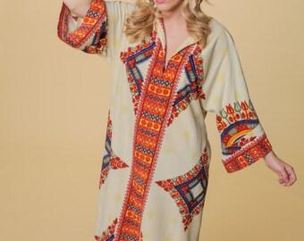 Vintage Housecoat // 70s Tribal Kaftan // Velvety Soft Boho Robe