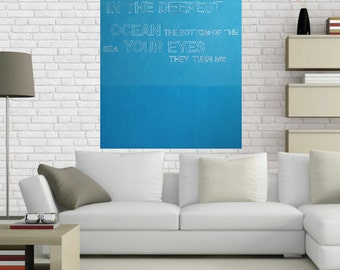 Radiohead, word art, Thom Yorke, blue, lyrics, music, large abstract painting, popart, original painting, contemporary