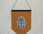 EXTRA LARGE Hand Embroidered Pennant with Hamsa Hand - embroidery hoop art (Banner) (Felt Patch) (golden foil details) Macrame Wall Hanging