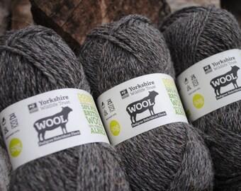 3 pack - Hebridean & Alpaca DK Knitting Wool - Grey - 150g (3 x 50g) - Yorkshire Wildlife Trust - DK Knitting Yarn