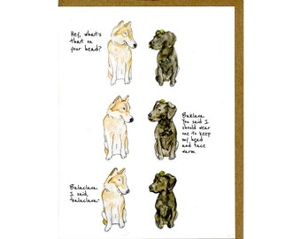 Labrador Retriever Dog Greeting Card, Husky Dog Card