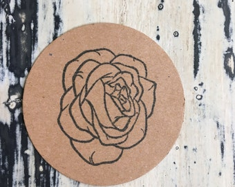 6 x Rose Embellishment Pack Kraft Die Cut
