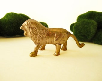 Brass Lion Statue Figure Gold Lion Figurine Hollywood Regency Chinoiserie