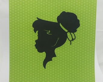 """Peter Pan Tinkerbell Inspired Cut Paper Silhouette Portrait 8"""" x 10"""" Cut Out Art Portraits"""
