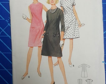 Uncut, Misses Size 16, 1960s Vintage Sewing Pattern, Butterick 4005, Semi-fitted, Bell Shaped Dress, Jewel or Scoop Neckline