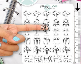 Clear Travel Stickers Holiday Stickers Summer Stickers Planner Stickers Erin Condren Functional Stickers Decorative Stickers NR458
