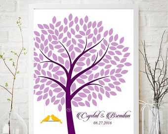 Tree Wedding Guest book Alternative Canvas, Tree Guest Book Canvas,Love birds guest tree,Birds on the swing guest book idea,POSTER or CANVAS