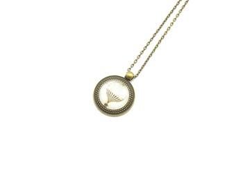 "Cabochon necklace ""Hot air balloon"" 70 cm bronze"