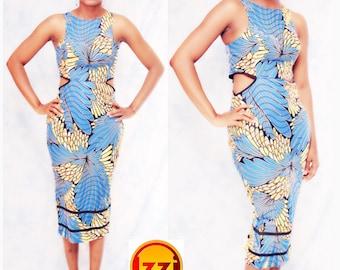 African print cut out dress, knee length, african clothing, african dress, the african shop, african wedding dress, african outfit