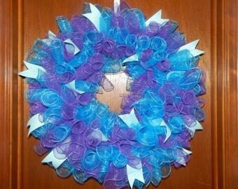 Curly mesh wreath, Spring Wreath, Mesh wreath spiral mesh