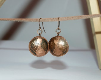 Dangle earrings Copper jewelry Cat earrings Drop copper metal earrings Earrings for everyday wear Minimalist Copper Jewelry Cat jewelry gift