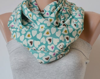 Heart Print Scarf- Heart Scarf- Heart on Mint Green Scarf- Spring Accessories- Summer Scarf- Pareo
