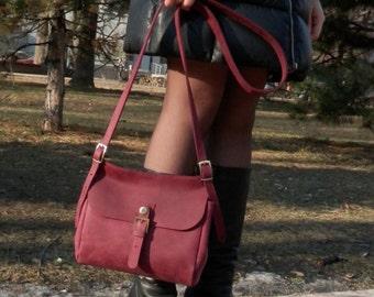 Genuine Leather Shoulder bag Crossbody bag Handmade purse Women's messenger bag FREE Shipping