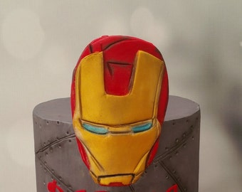 Iron Man Mask 2D Cake Topper