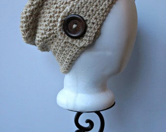 Sandy Crochet Slouchy Hat with Button