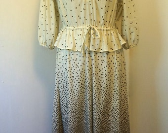 Vintage 1970s / Secretary Dress / Peplum Dress / 1970s Dress