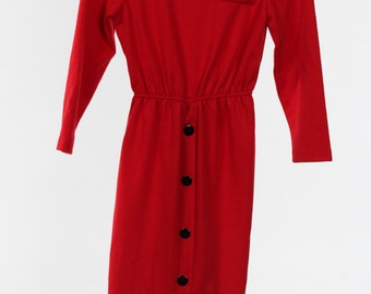 Red Vintage Dress with black button detail