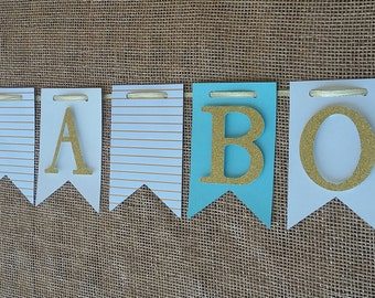 Aqua Blue It's a boy Banner, Blue Baby Boy Banner, Blue and Gold Baby Shower Banner,Its A Boy Banner,Blue & Gold Baby Shower Decor,Oh Baby