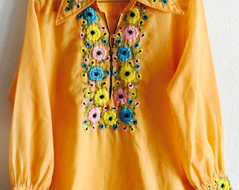 70s Embroidered Gauze Blouse