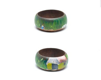 Hand Painted wooden Bracelet