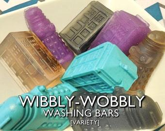 Wibbly-Wobbly Washing Bars   2-pk   Pure Lavender/Vanilla/Mint Musk & LotV Scented Doctor Who Tardis/Dalek Glycerin Soap Bars