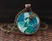 Mermaid necklace, Mermaid pendant, Mermaid jewelry, vintage style Mermaid  Ocean Whater Sea pendant, Marine jewelry, Seashells Girl jewelry