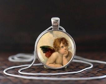 Angel Raphael Santi necklace, Angels of Sistine Madonna, Sistine Madonna necklace, Angel pendant