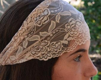 Wide Beige lace Headband adult Bridal Lace Headband adult Headband Wonen Boho Headscarf Hair Accessories Bandana Scarf head bandana headwrap