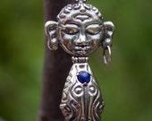 3d Printed Pendant, Buddha Pendant,  Sterling Silver Sendant with sodalite, silver pendant with stone, fidget pendant, Contemporary Style
