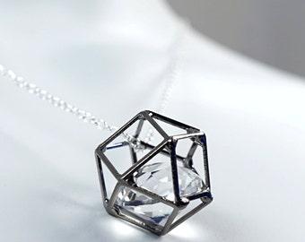 Big Caged Diamond Necklace Layered Necklace Crystal Jewelry Hexagon Minimalist Geometric Crystal Necklace Girlfriend Gift best friend