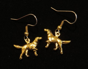 English Pointer Dog Earrings 24 karat Gold Plate or Oxidized Matte Silver Dogs Puppy EG305 / ES281