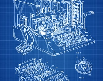 Enigma Machine Patent - Patent Print, Wall Decor, Spycraft, WWII, Spies, Secret Messages, Cipher Machine, Blueprint